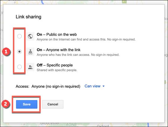 Les options de partage de liens pour une carte Google Maps personnalisée