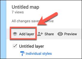 Appuyez sur Ajouter une couche pour ajouter une couche personnalisée à une carte Google Maps personnalisée