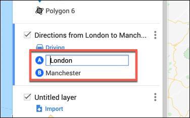 Saisissez les lieux de départ et d'arrivée dans la couche des itinéraires personnalisés dans l'éditeur de cartes Google Maps