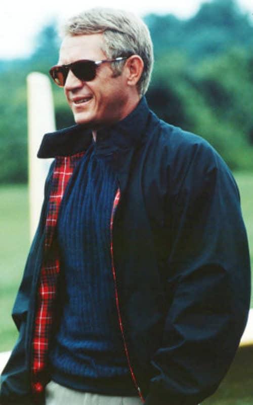 Steve McQueen en veste Harrington bleu marine