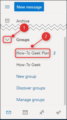 Le plan dans le volet de navigation d'Outlook.
