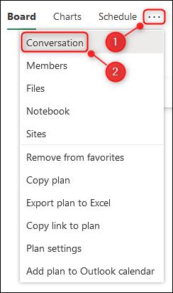 Le menu Paramètres du plan avec l'option Conversation en surbrillance.
