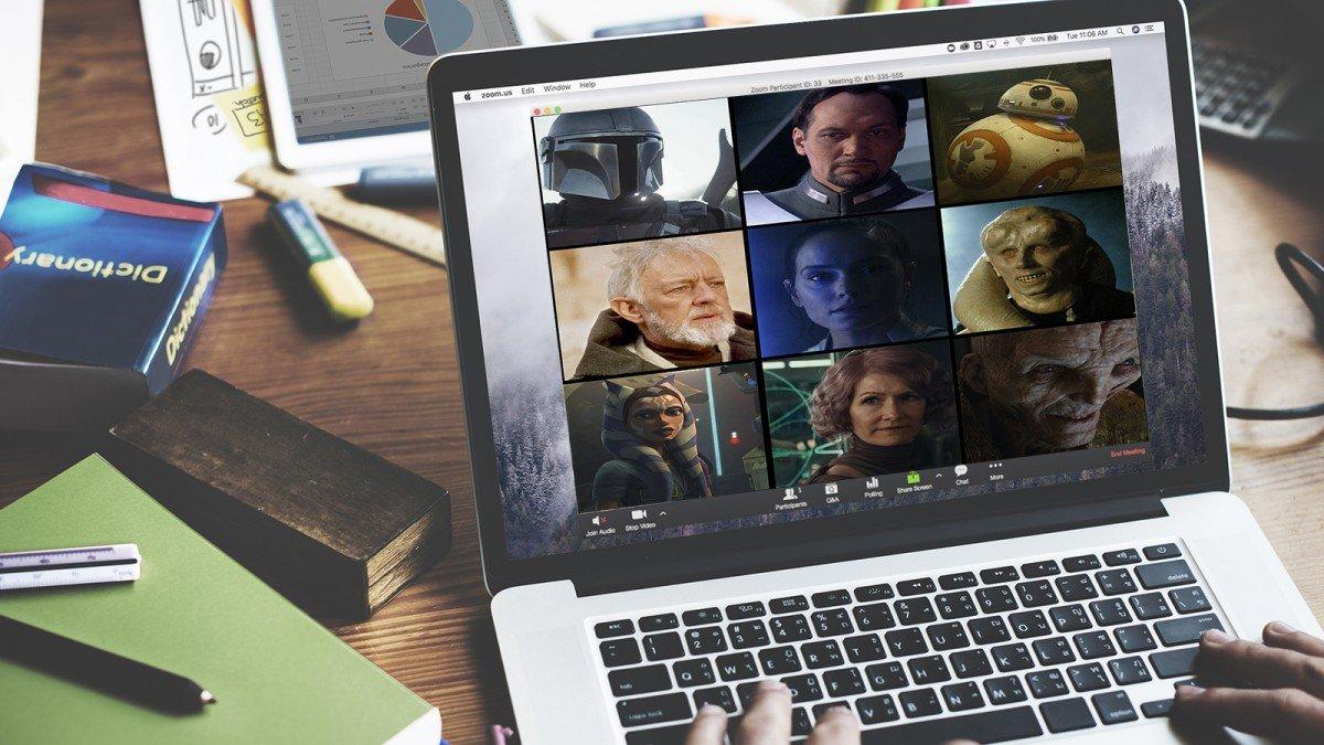 Un appel Zoom avec divers personnages de Star Wars