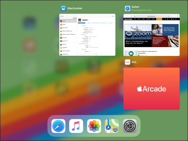 Commutateur d'application sur iPad après la fermeture de l'application