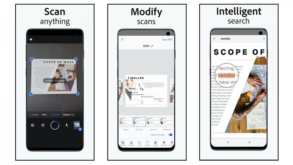 Captures d'écran de l'application Adobe Scan