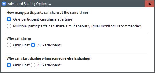 Options avancées de partage d'écran