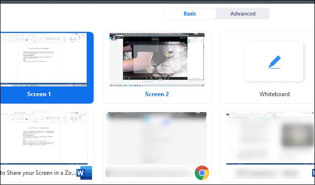 Sélection d'écran pour partager votre écran
