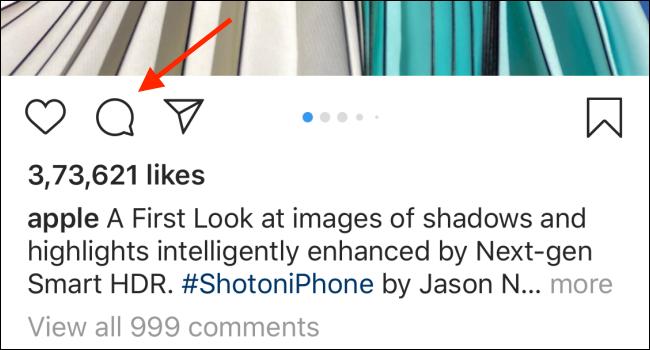 Appuyez sur l'icône Commentaires (icône bulle de dialogue) pour afficher tous les commentaires associés à la publication.