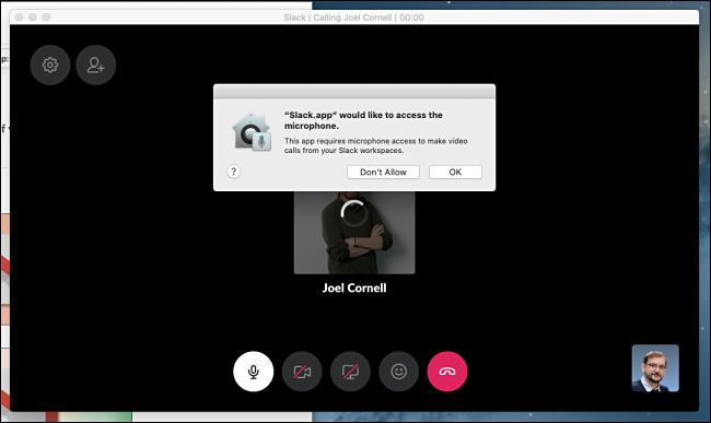 Accorder l'accès au microphone dans Slack pour le chat vidéo