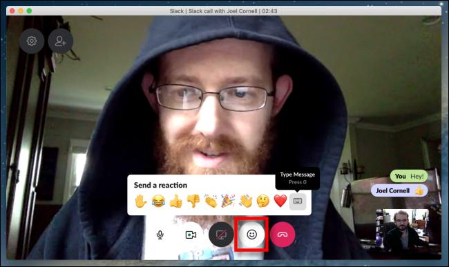 Slack réactions et messages de chat vidéo