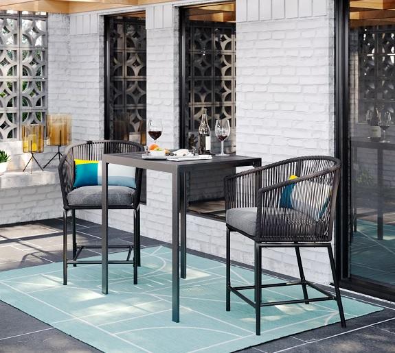 Ensemble de salle à manger à hauteur de barre de patio 3 pièces Standish
