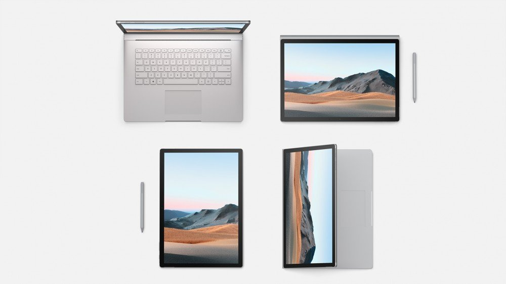 Le Surface Book 3 dans ses configurations de tablette et d'ordinateur portable.