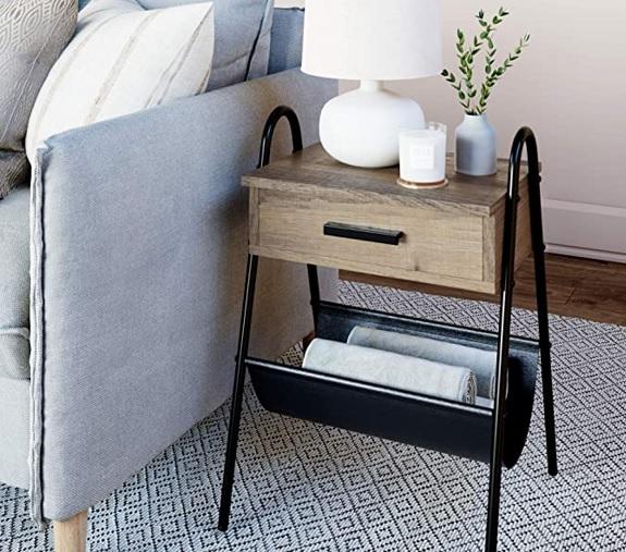Table en bois rustique avec tiroir Nathan James