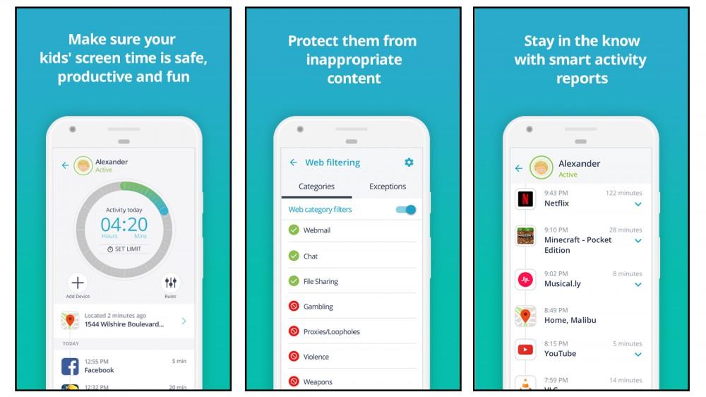 Captures d'écran de l'application Qustodio
