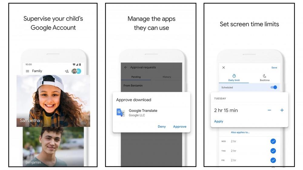 Captures d'écran de l'application Google Family Link