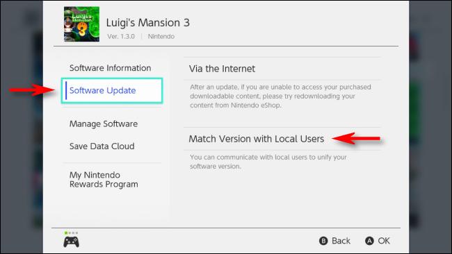 Sélectionnez Match Version avec les utilisateurs locaux dans le menu Options pour Nintendo Switch