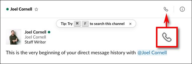 Cliquez sur l'icône d'appel dans Slack pour passer un appel vidéo