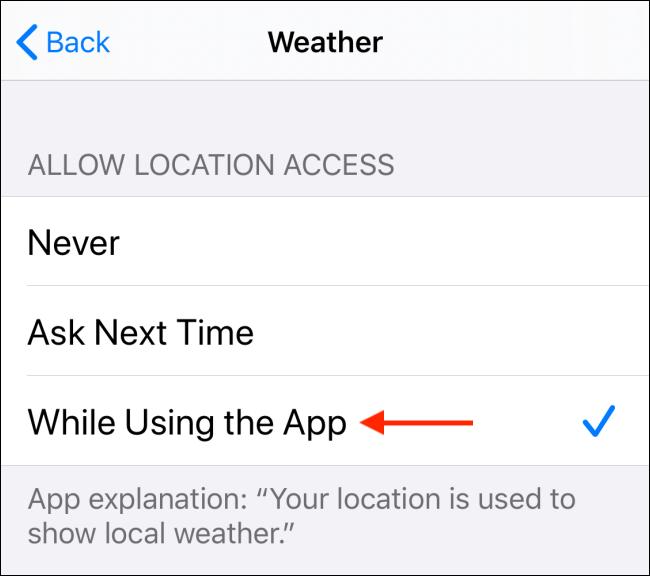 Choisissez Autoriser lors de l'utilisation de l'option App