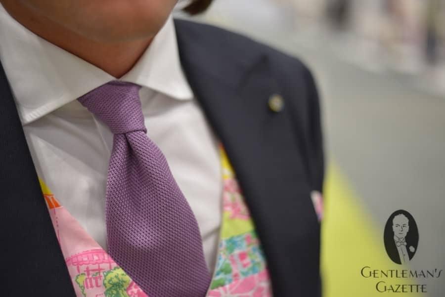 Grenadine Garza et gilet patchwork sur mesure avec tissu Lily Pulitzer
