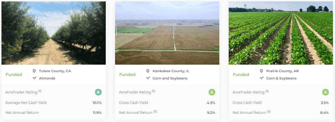 AcreTrader échantillonne les transactions passées financées sur des terres agricoles
