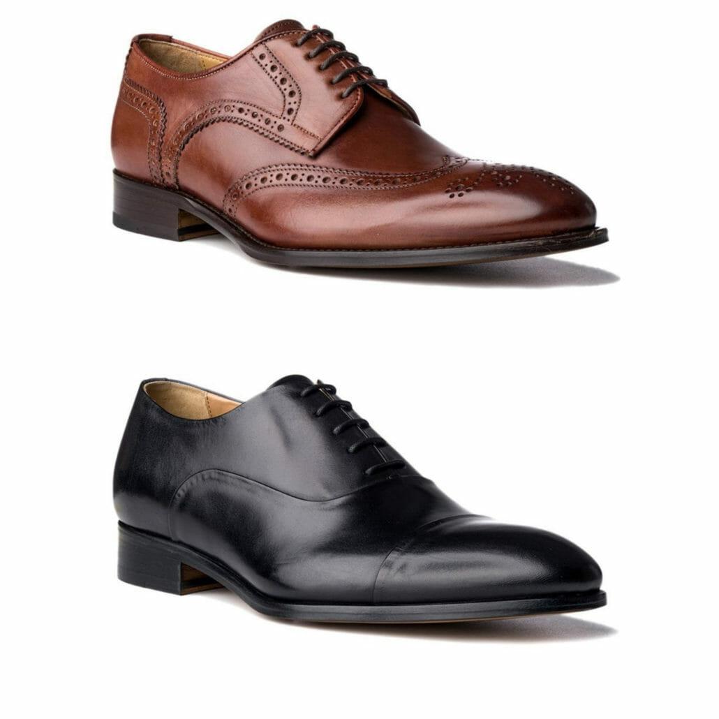 Une chaussure derby cognac à bout d'aile avec broguing par rapport à un simple oxford captoe noir, tous deux d'Acemarks