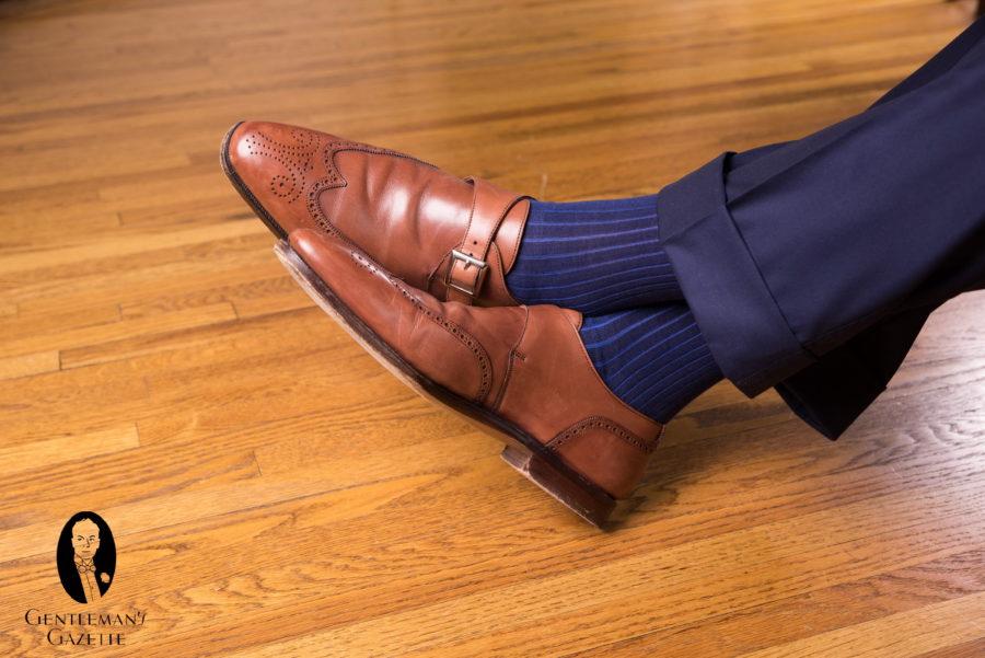 Chaussures à bride moine à bout d'aile avec chaussettes Fort Belvedere