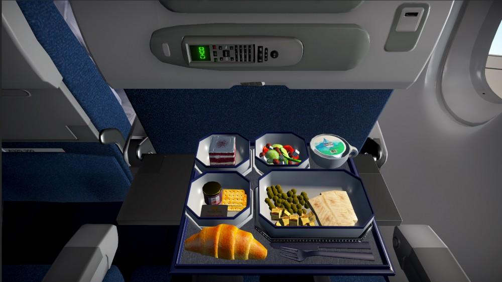 Une vue de jeu vidéo d'un dossier de siège rempli de nourriture grossière.
