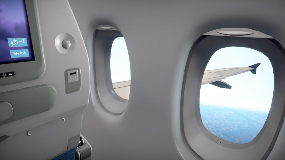 Une vue vidéo d'un siège de fenêtre dans un avion.