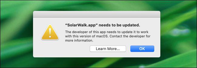 Un avertissement d'application 32 bits dans macOS 10.15 Catalina