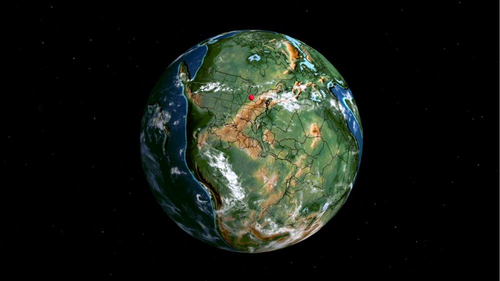 Terre ancienne avec une épingle dans ce que serait Cincinnati