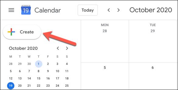 """Dans l'interface Web de Google Agenda, cliquez sur l'icône """"Créer"""" bouton en haut à gauche"""