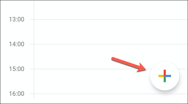 """Dans l'application mobile Google Agenda, appuyez sur le """"Ajouter un évènement"""" bouton dans le coin inférieur droit."""