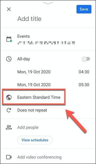 Appuyez sur le fuseau horaire répertorié dans le menu des détails de l'événement pour modifier le fuseau horaire de cet événement.