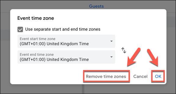 """Cliquez sur """"Supprimer les fuseaux horaires"""" pour supprimer des fuseaux horaires d'un événement Google Agenda, ou """"D'accord"""" pour les sauver."""