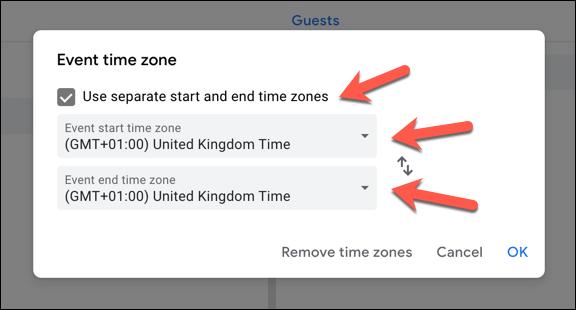 """Pour ajouter un fuseau horaire secondaire, cliquez sur l'icône """"Utiliser des fuseaux horaires de début et de fin distincts"""" case à cocher.  Sélectionnez un fuseau horaire principal (ou principal et secondaire) dans les menus déroulants"""