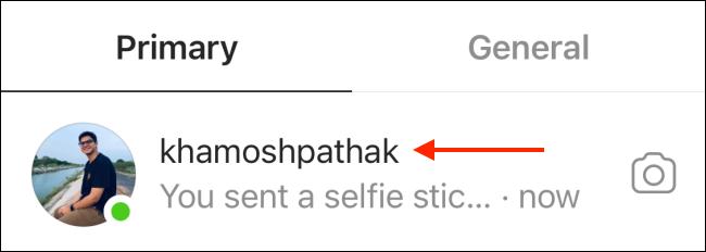 Sélectionnez Conversation pour Instagram DM