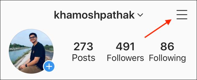 Appuyez sur Menu depuis votre profil Instagram