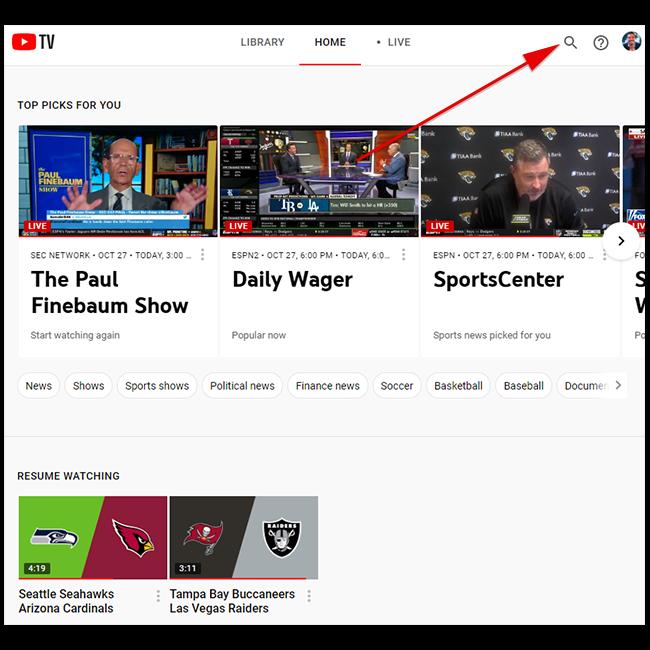 Sur tv.youtube.com, cliquez sur l'icône de recherche.