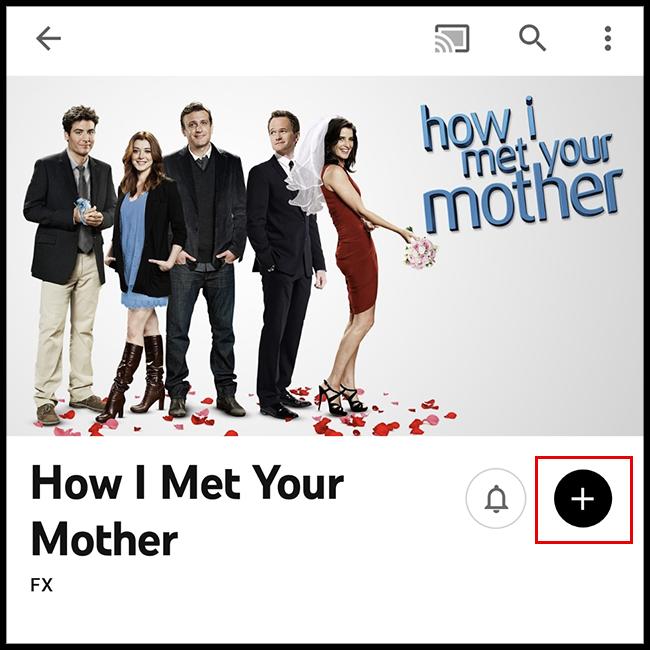 appuyez sur l'icône plus pour ajouter l'émission à votre bibliothèque!