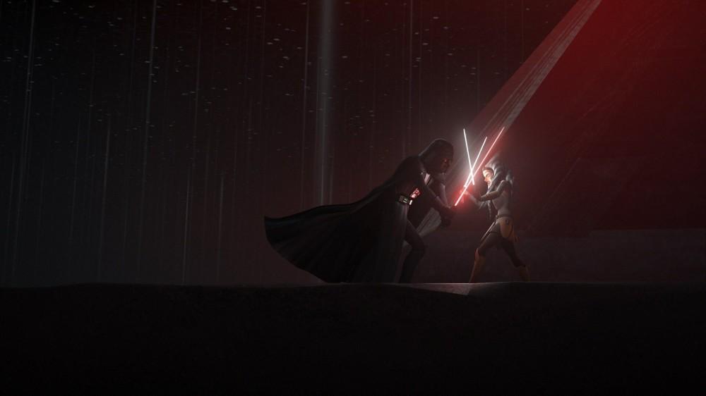 Dark Vador et Ahsoka de «Star Wars» combattant sur une planète lointaine.