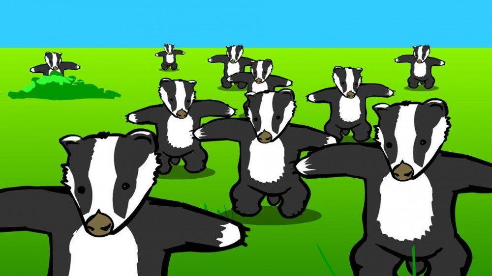 Une capture d'écran de l'animation classique Badger Flash.