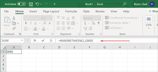 Formule de nombres aléatoires Excel