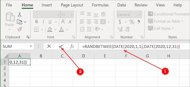 Formule de date Excel