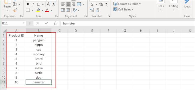 Colonnes et lignes Excel