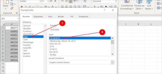 Format de données Excel