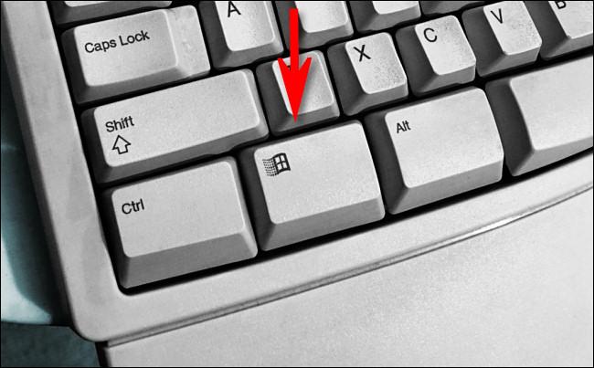 La touche Windows sur un clavier naturel Microsoft.