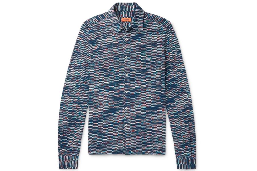 Chemise en tricot de coton teint dans l'espace Missoni