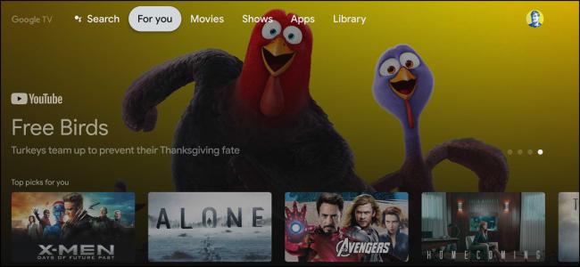 écran d'accueil google tv