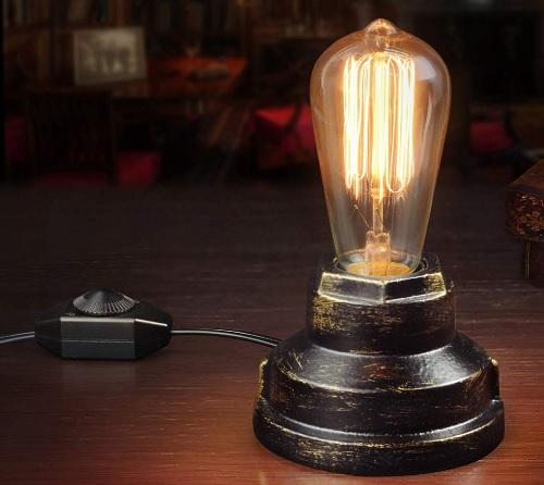 Lampe de bureau en fer forgé avec gradateur