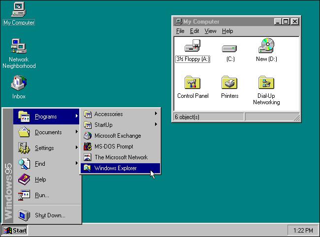 Une capture d'écran de Microsoft Windows 95.
